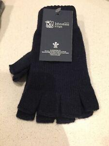 Johnstons Of Elgin Pure Cashmere Gloves Fingerless Made In Scotland Navy Blue