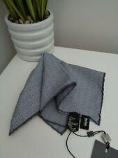 HUGO BOSS Tailored Grey Blue Geo Silk Cotton Pocket Square Handkerchief Hankie