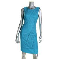 Calvin Klein 4629 Womens Blue Scuba Laser Cut Wear to Work Dress 8 BHFO