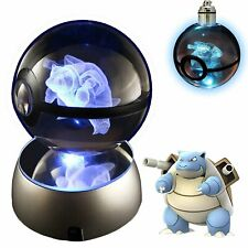 3D Crystal Ball LED Night Light with LED Keychain Laser Engraving (Blastoise)