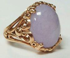 Estate 14k Rose Gold Lavender Jade Ring
