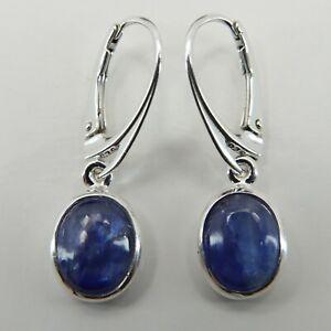 Genuine and Natural Blue Kyanite Earrings 925 STERLING SILVER Leverback #8