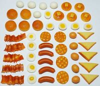 50-Piece Dollhouse Miniature Mixed Breakfast Set *Doll Mini Tiny Food Eggs Bacon