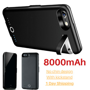 8000mAh Battery Charger Case Power Bank Cover For iPhone 6 6s 7 8 Plus SE Black