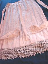 Vintage Edwardian Antique Apron Long LACE Trim ORNATE  Cotton GC