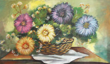 Still Life with flowers vintage oil painting