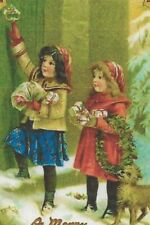 """A """"Children Window Shopping"""" Repro Christmas Holiday Xmas Picture Postcard- 1206"""