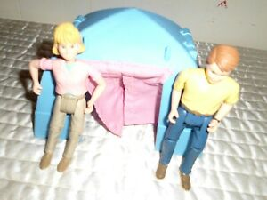 Vintage Fisher Price Blue Plastic Camping Tent mother dad Kelly Doll Accessories