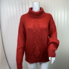 Lord and Taylor Mohair Sweater Red Size Small Turtleneck Cable Knit