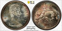 1967 CANADA 25 CENTS SILVER PCGS MS64 UNC DEEP TONED RAINBOW COLOR GEM (DR)