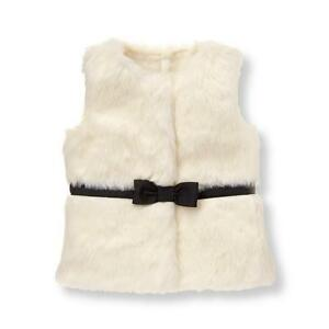 New Janie Jack baby Faux-Fur Vest jacket ribbon bow 12 18 month Holiday winter