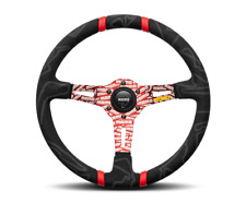 MOMO ULTRA Steering Wheel Microfiber w/ Red Engraved Spokes ULT35BK0RD