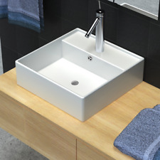 Square Counter Top Ceramic Basin Sink Bathroom with Overflow and Faucet Hole New