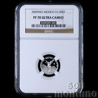 NGC PF 70 ULTRA CAMEO - 2009 Mexico 1/20 TWENTIETH OZ SILVER LIBERTAD PROOF Coin