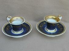 PAIR ANTIQUE FRENCH PARIS PORCELAIN COFFEE CUPS SAUCERS EMPIRE STYLE HAND PANTED