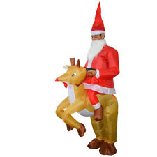 Santa Claus Reindeer Rider Inflatable Costume w/Fan for Christmas Party Cosplay