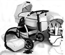 NEW Lucky! White Baby Pram / Pushchair / Car Seat - 3in1 system on white chassis
