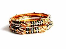 Kundan Cz Bridal Kada Bangles 2.6 Indian Ethnic Bollywood 2P Gp Polki