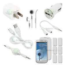 12 pcs Bundle Kit White USB Cable+Charger+Headset for Samsung Galaxy S3 S 3 III