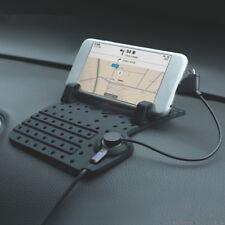 Universal Magnetic USB Charging Cradle Dock Stand Anti slip Car Pad Phone Holder