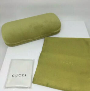 NEW Authentic GUCCI lime green velvet sunglasses case pouch & cleaning cloth L