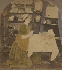 STEREOVIEW  YOUNG WOMAN OFFERS PRAYER AT MEAL. TINTED.