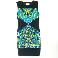 JOSEPH RIBKOFF Women's size 6 Sleeveless Sheath Dress Stretch Black Blue Green