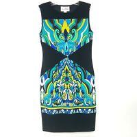 JOSEPH RIBKOFF Women's size 6 Sleeveless Sheath Dress Stretch Black Blue Green