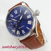 44mm Parnis blue dial 17 jewels 6497 hand winding movement Men's Wristwatch