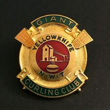 New listing VINTAGE CURLING PIN GIANT YELLOWKNIFE CURLING CLUB (Birks missing screw on back