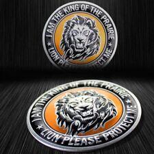 """Metal 3"""" 3D Brushed Aluminum Emblem Sticker Motorcycle Fairing/Fender Badge Lion"""