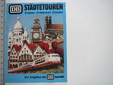 Aufkleber Sticker Die Bahn - Städtetouren 70er 80er Alt Deutsche Bahn (7402)