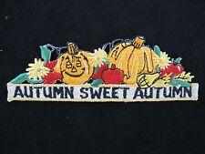 #4502 Pumpkin,Apple,Flower w/AUTUMN SWEET AUTUMN Embroidery Applique Patch