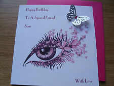 Personalised Luxury Handmade Birthday Card - Unique - Eye with Butterfly Lashes