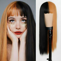 Hot Soft Anime Long Straight Cosplay Two Tone Ombre Synthetic Hair Wig for Women