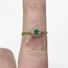 VINTAGE SOLID 18ct GOLD EMERALD DIAMOND CLUSTER RING LADIES RING SIZE O