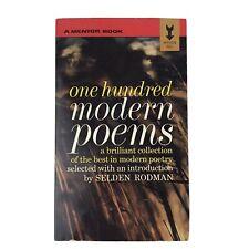 One Hundred Modern Poems - A Mentor Book - Selden Rodman 1949 Vintage Paperback