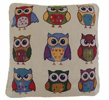 "Emotive Owls Birds Green Blue Red 17"" 43cm Cotton Blend Velvet Cushion Cover"