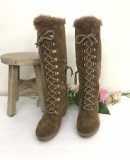 ANN TAYLOR LOFT Suede Tall Boots sz 7 Faux Fur Lining Lace Up Wedge Heel