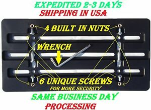License Plate Tag Bracket For Bumper With 6 Unique Screws & Wrench Kit Brand New