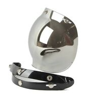 3 Snap Motorcycle Retro Helmet Bubble Visor Flip Up Open Face Shield Lens Peak