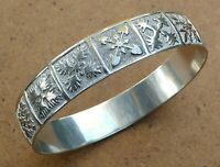 Beautiful Vintage Sterling Silver Snowflake Winter Design Bangle Bracelet