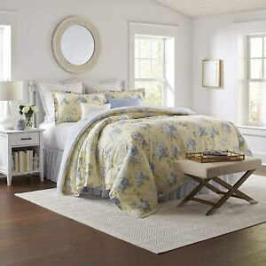 Laura Ashley Maybelle Collection King 4 Piece Luxury Ultra Soft Comforter Yellow