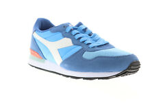 Diadora Camaro Mens Blue Suede & Nylon Athletic Lace Up Running Shoes 9