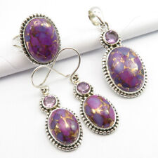 "925 Silver Real TURQUOISE & AMETHYST Ring Size 7.25 Pendant, Earrings 1.6"" SET"