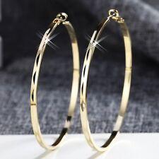 18K Yellow Gold Filled Charming Medium Hoop Earrings Fashion Jewellery