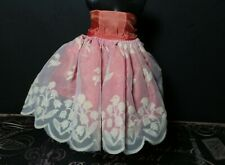 Vintage! Brightly Colored Tiny Dress with Lace Skirt for Hard Plastic Era Dolls