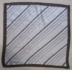 Vintage Handkerchief SILK Hankie Mens Top Pocket Square BROWN GOLD BLUE