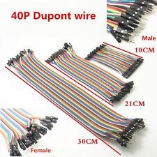 40pc Breadboard Dupont Wire M-M/M-F/F-F 10/20/30cm Jumper Cable 1P-1P 2.54mm