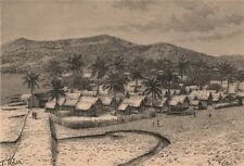 Malagasy Village of Nossi Bé. Nosy Be. Madagascar 1885 old antique print